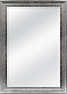 MCS 24x36 Inch Sloped Mirror with Dental Molding Detail, 29.5x41.5 Inch Overall Size, Silver (20565)