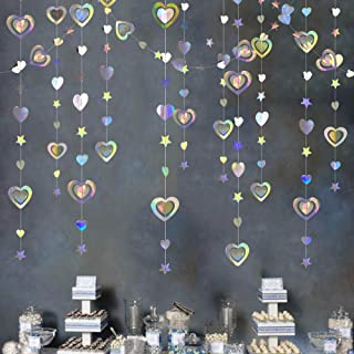 40 Ft Iridescent 3D Heart Twinkle Star Garland Double Sided Holographic Paper Streamer for Birthday Mother's Day Anniversa...