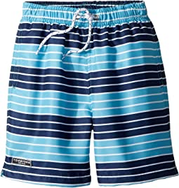 Toobydoo - Navy Aqua Stripe Swim Shorts (Infant/Toddler/Little Kids/Big Kids)