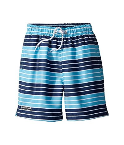 Toobydoo Navy Aqua Stripe Swim Shorts (Infant/Toddler/Little Kids/Big Kids) (Navy/Blue) Boy