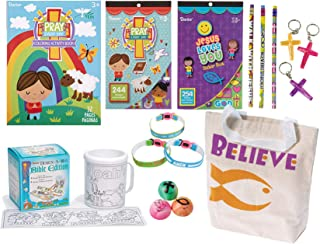 LightShine Products 17 Piece Religious Christian Theme Activity Book, Design A Mug, Stickers and Tote Bag Bundle Set for Kids