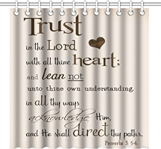 Wknoon Trust in The Lord with All Thine Heart Inspirational Quote Shower Curtain 72 x 72 Inch, Bible Verse Scripture Quotes Proverbs Waterproof Polyester Fabric Decorative Bathroom Bath Curtains