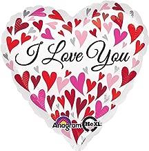 Anagram International Hx I Love You Happy Hearts Flat Balloon, Multicolor