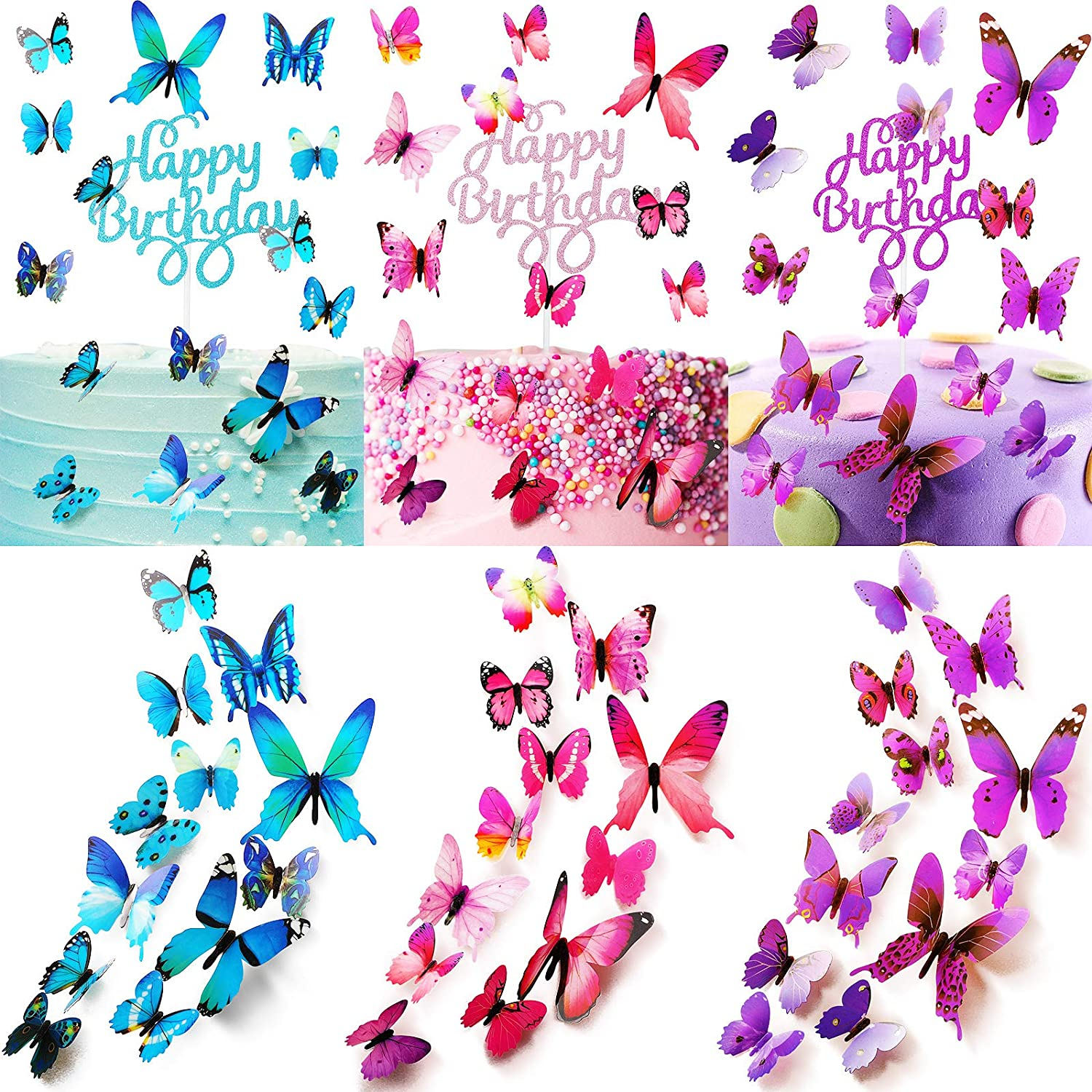 138 Pieces Glitter Cake Toppers 30 Include Happy Set Birt Fashionable Popular
