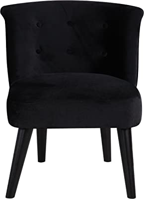 DIVANO ROMA FURNITURE Classic and Traditional Living Room Velvet Fabric Accent Chair with Tufted Details (