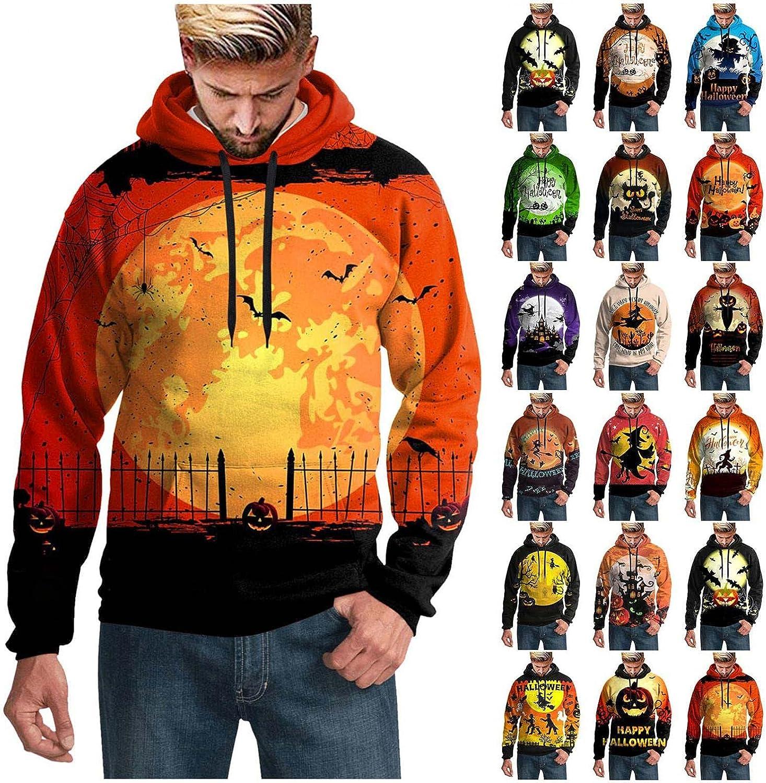 Halloween Hoodies For Men,Unisex Novelty Hoodies Pumpkin Skull Graphic Pullover Jacket Hooded Sweatshirt Tops