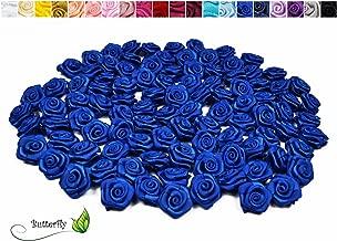 100 Satin röschen Rosen Hochzeit weiß  20 mm Stoffrosen für Kopfschmuck