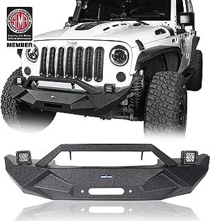 Hooke Road Jeep JK Solid Steel Bumper w/Winch Plate & LED Fog Lights for 07-18 Jeep Wrangler JK & Unlimited