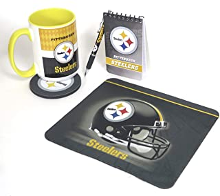Pittsburgh Steelers Compact Mouse pad Set, Includes a 12 Ounce Drink Tumbler, Memo pad, a Ballpoint Pen, and Mouse pad