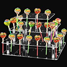 56 Hole Clear Lollipop Holder, 4 Tier Acrylic Cake Stand, Square Candy Holder for Weddings, Birthday Parties, Birthdays, H...
