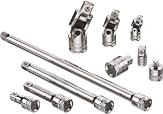 ARES 71270-10-Piece Socket Accessory Set - Premium Chrome Vanadium Steel with Mirror Finish - Includes Socket Adapters, Extensions and Universal Joints