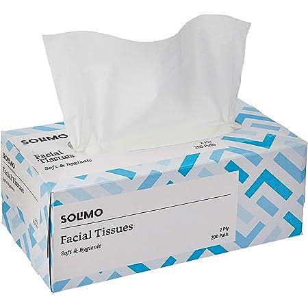 Amazon Brand - Solimo 2 Ply Facial Tissues Carton Box - 200 Pulls