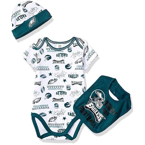 a4e7a2066 NFL Philadelphia Eagles Unisex-Baby Bodysuit, Bib & Cap Set, Green, 0