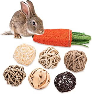 OVERTANG Guinea Pig Toys - Treats, Bunny Toys - Treats, Play Balls Rolling Chew Toys, Loofa Carrot Toys, for Rabbits, Chin...