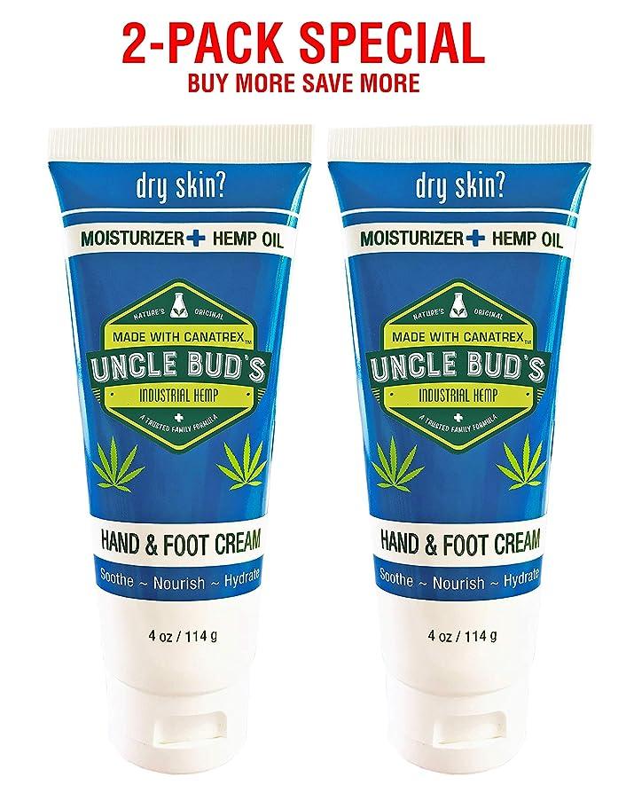 妥協協定未知のUncle Bud's 2-Pack Special - Hand and Foot Cream HEMP Oil - 4oz per tube