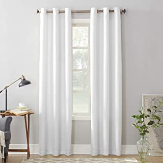 """No. 918 Montego Casual Textured Grommet Curtain Panel, 48"""" x 63"""", White"""