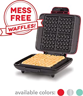 DASH No-Drip Belgian Waffle Maker: Waffle Iron 1200 Watt + Waffle Maker Machine for Waffles, Hash browns, or any Breakfast, Lunch, & Snacks with Easy Clean, Non-Stick + Mess Free Sides - Red