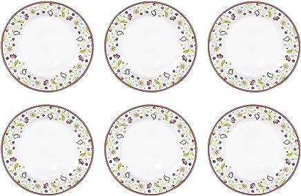 Preisvergleich für Flirt by R&B 018806 'Doppio Shanti' flirt by R&B Frühstücksteller / Dessertteller 'Shanti Doppio', Ø 20cm, Porzellan mit Paisley-Muster, weiß/rot/grün (6er Pack)