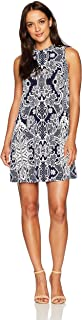 Tiana B Women's Petite Puff Printed Mock Neck A-line Dress