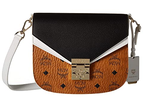 MCM Patricia Visetos Leather Block Shoulder Small