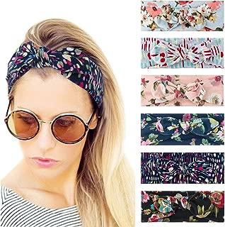 Dlala 8 Pack Boho Bow Headbands for Women Vintage Paisley Bandana Flower Printed Hairband Elastic Rabbit ear Head Wrap Cute Hair Accessories