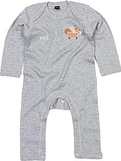 Kleckerliese Baby Strampler Schlafanzug Overall Sprüche Jungen Mädchen Motiv Wunschname Tiere Fuchs mit Spur Name Fox