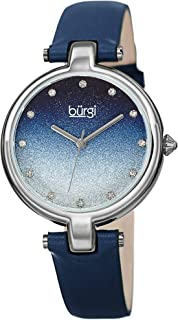 Burgi BUR225 Genuine Leather Women's Watch – Sparkling Ombre Glitter Dial with 12 Swarovski Crystal Markers, Polished Bezel, Precision Quartz