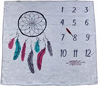 SIUONI Newborn Baby Monthly Milestones Blanket Infant Growth Photography Background Props Baby Boy Girl Month Blanket Swaddling Blanket Dream Catcher Printed