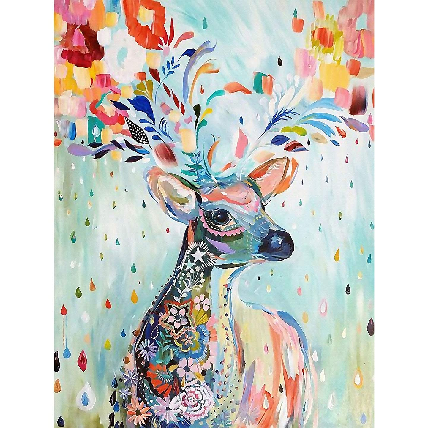 5D Full Drill Diamond Painting Kit, DIY Diamond Rhinestone Painting Kits for Adults and Children Embroidery Arts Craft Home Decor 14 x 19.6 inch (Colorful Deer)