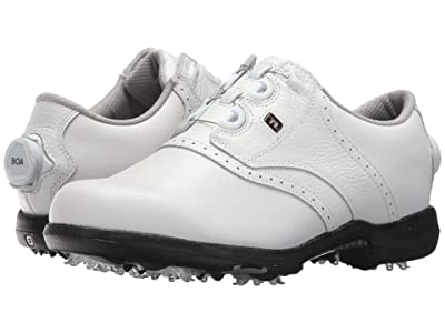 FootJoy DryJoys Cleated BOA Traditional Blucher Saddle (All Over White) Women