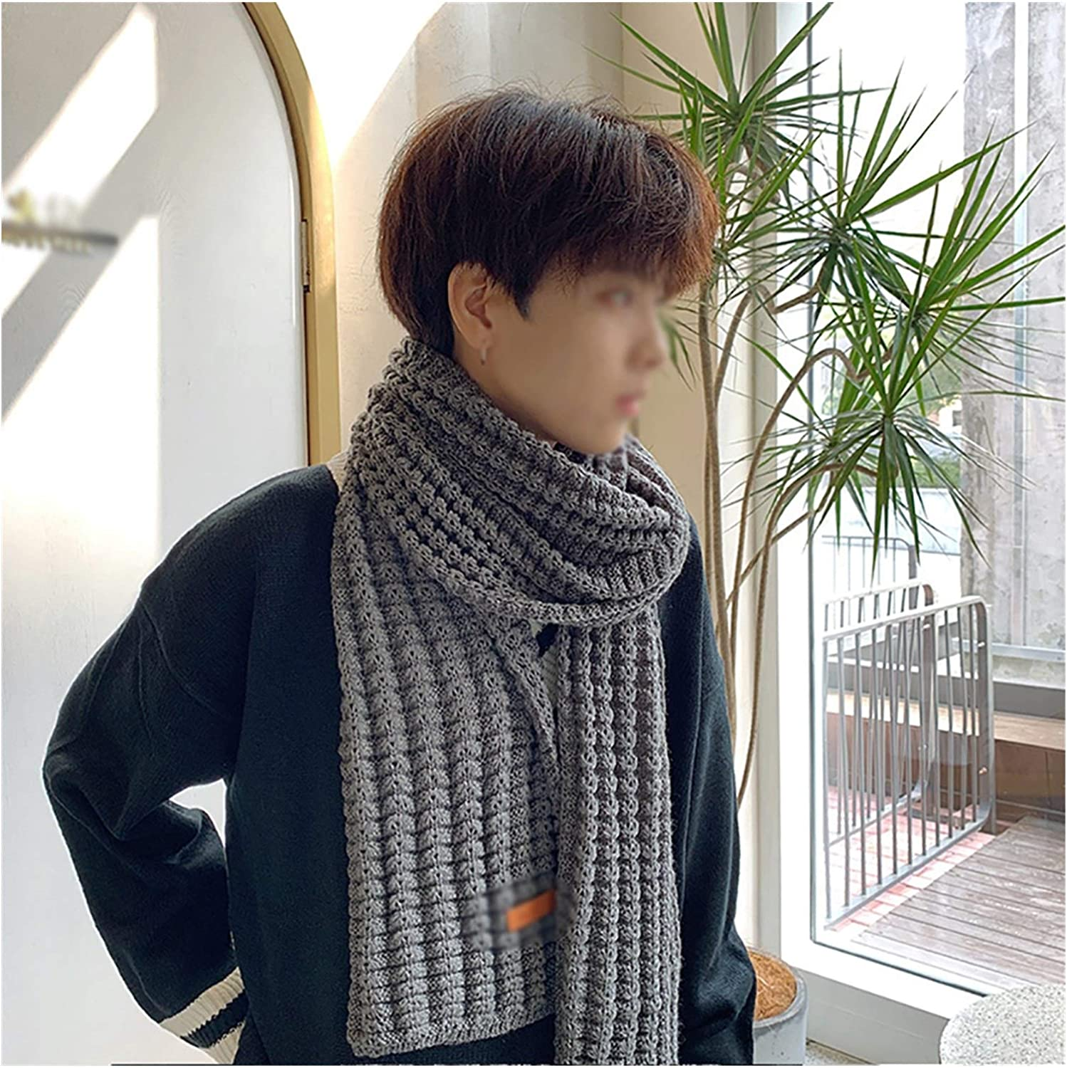 Unisex Scarf Winter Men Young Knitted Scarves Thick Long Solid Colors Fall Neck Warmer Scarf Soft Fashion (Color : B)