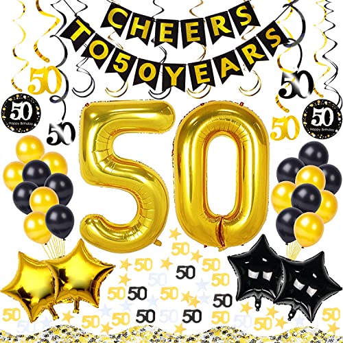 50th Birthday Decorations Kit 54 Pieces CHEERS TO 50 YEARS Banner 40 Inch