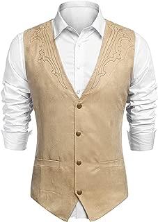 Men's Suede Leather Suit Vest Casual Western Vest Jacket Slim Fit Vest Waistcoat