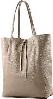 modamoda de - T163 - Ital. Shopper Large mit Innentasche aus Leder