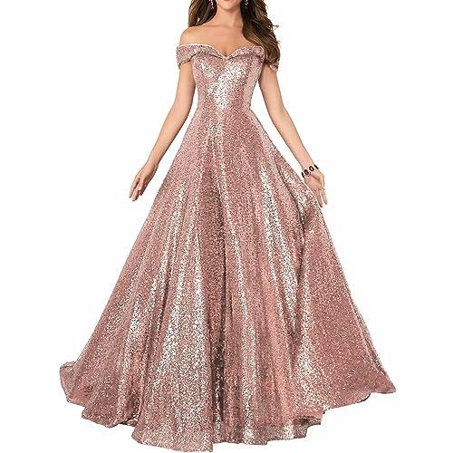 1024cf200a3e95 YIRENWANSHA 2019 Off Shoulder Prom Dress for Women Long Sequin Manual  Beaded Formal Gown SHPD41