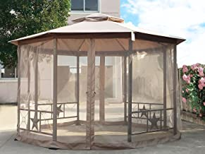 Cloud Mountain Outdoor Gazebo 12x12 Ft Patio Gazebo with Mosquito Netting Polyester Fabric Double Roof Vented Garden Gazebo Octagonal Canopy Tent for Backyard, Event, Party, BBQ(Sand)