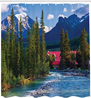 """Ambesonne Nature Shower Curtain, Pipestone River Rushes Past Log Lake Louise Village Banff National Park, Cloth Fabric Bathroom Decor Set with Hooks, 84"""" Extra Long, Green Blue"""