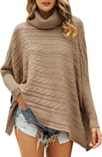 MsLure Women's Loose Turtleneck Cape Sweater Cable Knit Batwing Sleeve Pullover Sweater