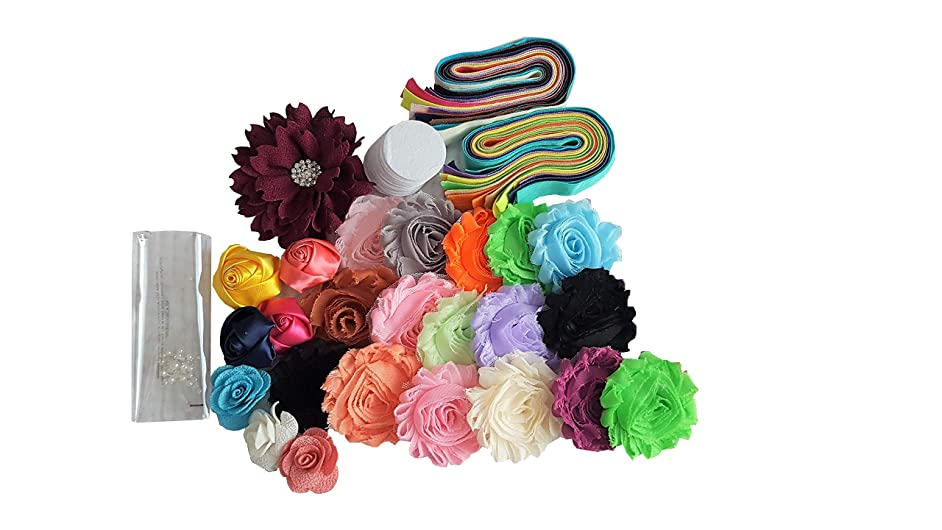 Baby Shower Activity Headband Kit - Makes 22 Headbands - Pre Cut Elastic Bands and Trimmed Flowers - DIY Accessory Hair Bow Station for New Baby Girl (22 Headband Kit, Mix Color) (Mix)