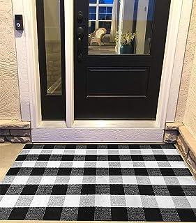 Ukeler Tapis à carreaux de buffle en coton tissé pour cuisine, buanderie, salle de bain, chambre à coucher, porte