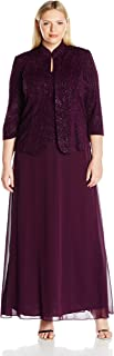 Alex Evenings Womens Plus-Size Jacquard Knit Long Dress and Manadrin Jacket Three-Quarter-Sleeve Dress - Blue