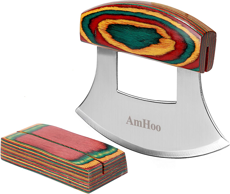 Amhoo Pizza Wholesale Cutter Chef Mezzaluna Knife Handle S Color Grip Wood Max 69% OFF