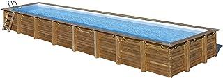 Gre 788033 - Piscina (Piscina con anillo hinchable, Rectangular, Azul, Marrón, Madera, Metal, PEFC, FSC)