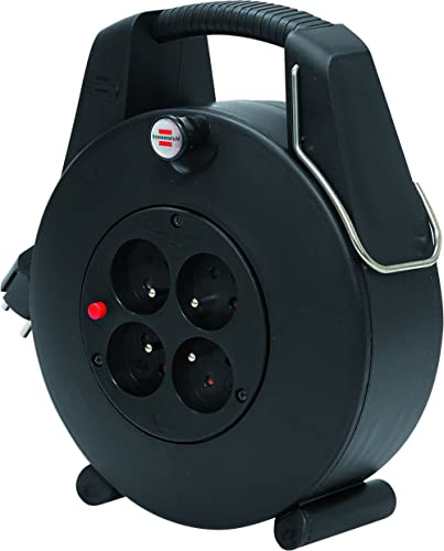 Brennenstuhl Confort-Line Enrouleur à Usage Domestique 4 prises avec 20m de câble (H05VV-F 3G1,0, IP20, Noir, petit f...
