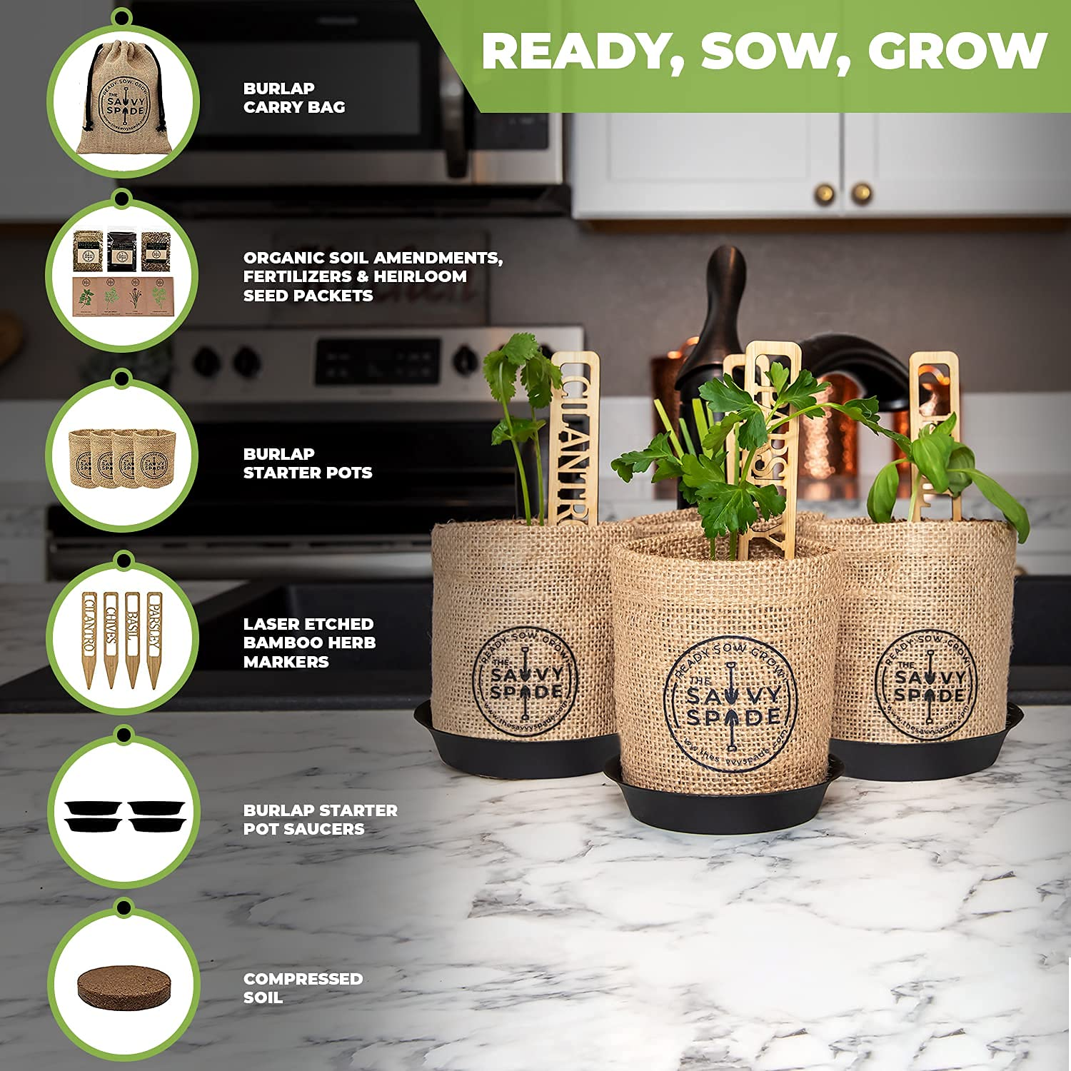 Herb Garden Kit Indoor - Non GMO, Heirloom Herb Seeds - Cilantro, Chives, Parsley and Basil Seeds for Planting - Gardening Gifts - Made in USA
