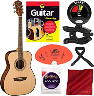 Washburn Apprentice 5 Series AF5K Folk Acoustic Guitar with Guitar for Dummies, Guitar Strings, Tuner, and Starter Pack Deluxe Accessory Bundle