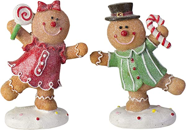 Northlight Set Of 2 Glitter Dusted Boy And Girl Gingerbread Kids Tabletop Figures 6