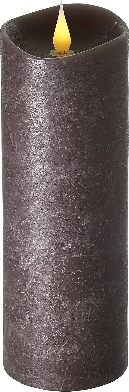 雨引数ブルーベルエンキンドル 3D LEDキャンドル ラスティクピラー 直径76×高さ235mm ブラウン