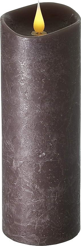 タバコ債務雇用者エンキンドル 3D LEDキャンドル ラスティクピラー 直径76×高さ235mm ブラウン
