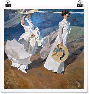 Bilderwelten Poster Joaquin Sorolla - Walk Along The Coast Cuadrado, Mate 90 x 90cm